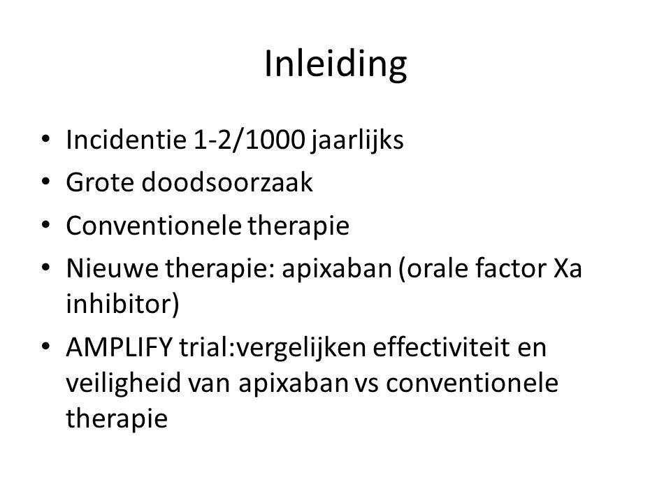 Inleiding Incidentie 1-2/1000 jaarlijks Grote doodsoorzaak Conventionele therapie Nieuwe therapie: apixaban (orale factor Xa inhibitor) AMPLIFY trial:vergelijken effectiviteit en veiligheid van apixaban vs conventionele therapie