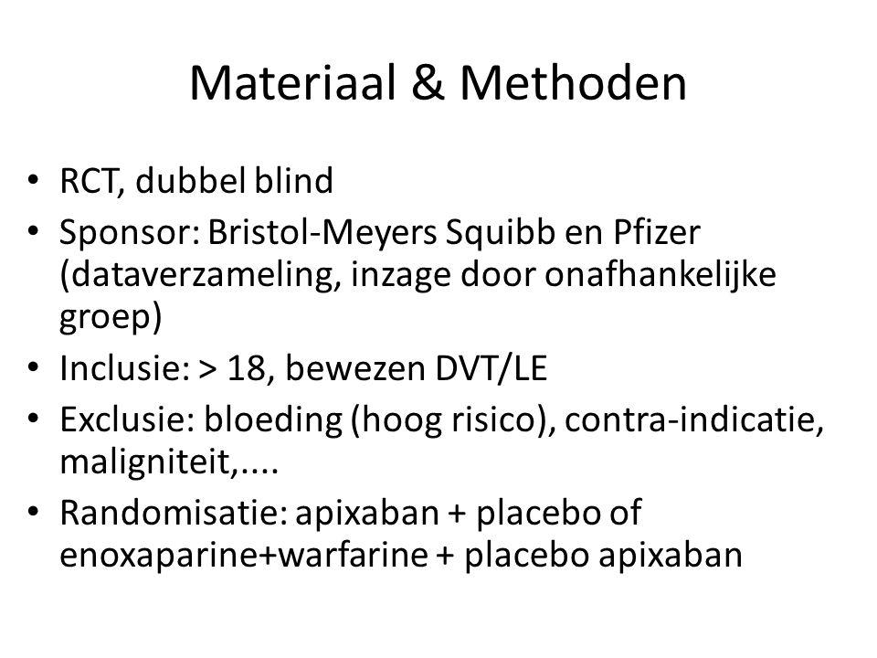Materiaal & Methoden RCT, dubbel blind Sponsor: Bristol-Meyers Squibb en Pfizer (dataverzameling, inzage door onafhankelijke groep) Inclusie: > 18, bewezen DVT/LE Exclusie: bloeding (hoog risico), contra-indicatie, maligniteit,....