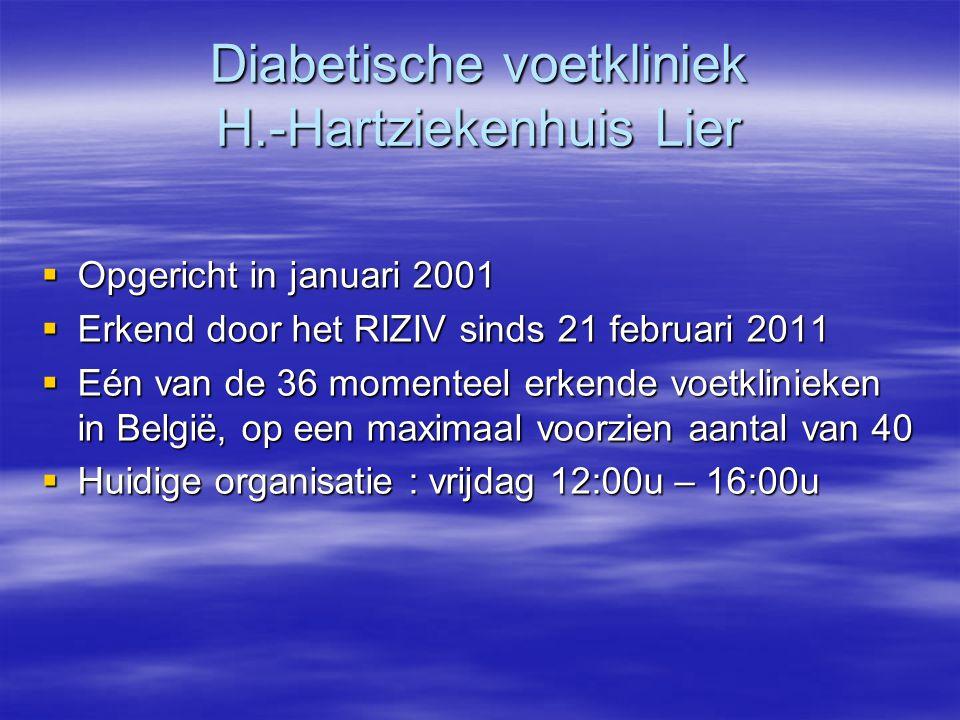 Diabetische voetkliniek H.-Hartziekenhuis Lier  Opgericht in januari 2001  Erkend door het RIZIV sinds 21 februari 2011  Eén van de 36 momenteel er
