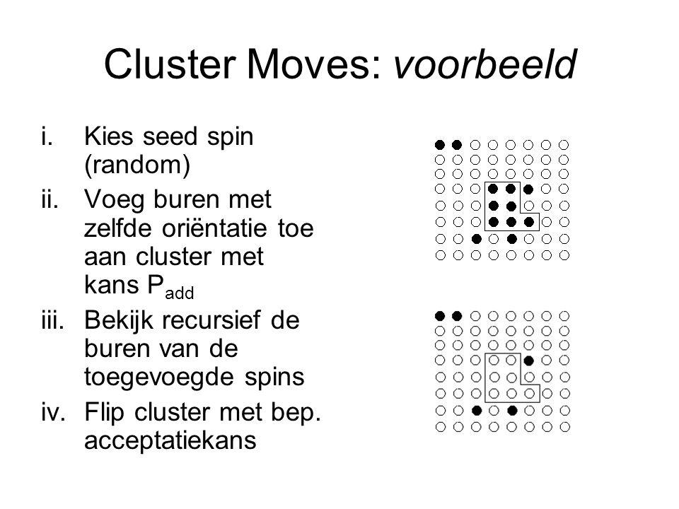 Cluster Moves: voorbeeld i.Kies seed spin (random) ii.Voeg buren met zelfde oriëntatie toe aan cluster met kans P add iii.Bekijk recursief de buren van de toegevoegde spins iv.Flip cluster met bep.