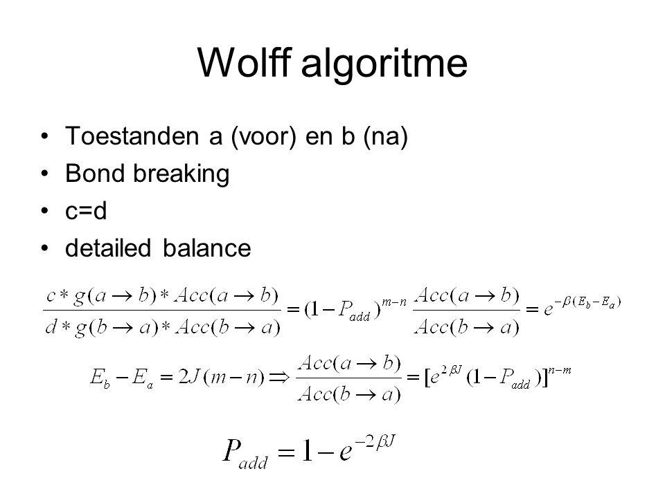 Wolff algoritme Toestanden a (voor) en b (na) Bond breaking c=d detailed balance