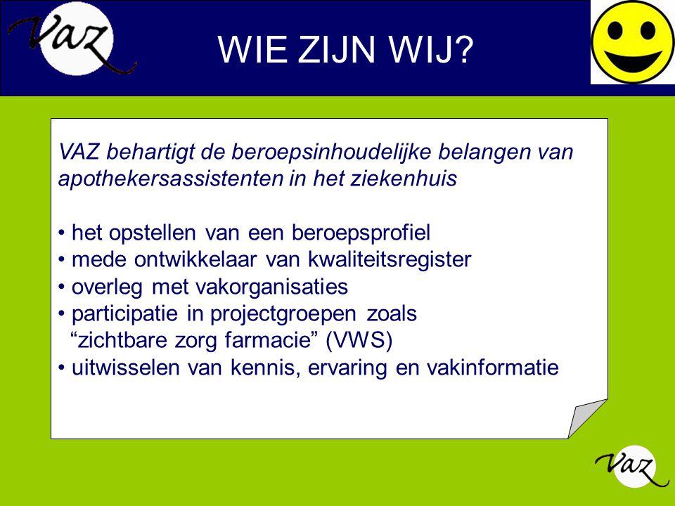 LIDMAATSCHAP VAZ Lidmaatschap VAZ Collectieve ondersteuning bij de vakbond Unie en Zorg en Welzijn Contributie 55 euro / jaar Duo lidmaatschap van de VAZ + Unie Zorg en Welzijn Naast collectieve ondersteuning Individuele belangenbehartiging bij de vakbond U.Z.W Contributie 55 euro /jaar + 5 euro / mnd voor de U.Z.W Internetsite: WWW.VAZ-ORG.NL