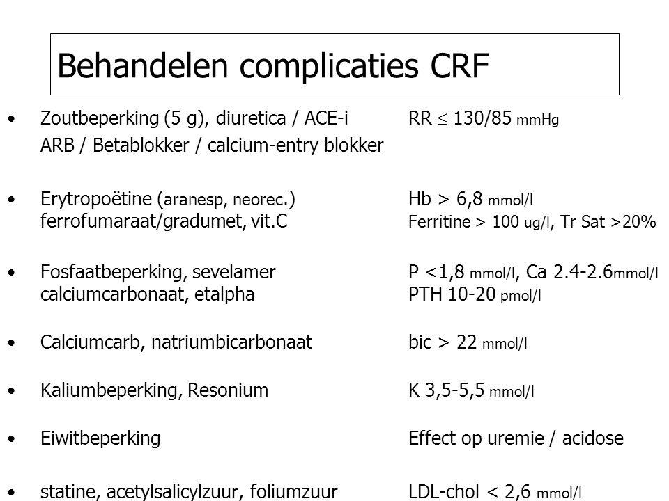 Behandelen complicaties CRF Zoutbeperking (5 g), diuretica / ACE-i RR  130/85 mmHg ARB / Betablokker / calcium-entry blokker Erytropoëtine ( aranesp, neorec.)Hb > 6,8 mmol/l ferrofumaraat/gradumet, vit.C Ferritine > 100 ug/l, Tr Sat >20% Fosfaatbeperking, sevelamerP <1,8 mmol/l, Ca 2.4-2.6 mmol/l calciumcarbonaat, etalpha PTH 10-20 pmol/l Calciumcarb, natriumbicarbonaatbic > 22 mmol/l Kaliumbeperking, ResoniumK 3,5-5,5 mmol/l EiwitbeperkingEffect op uremie / acidose statine, acetylsalicylzuur, foliumzuurLDL-chol < 2,6 mmol/l