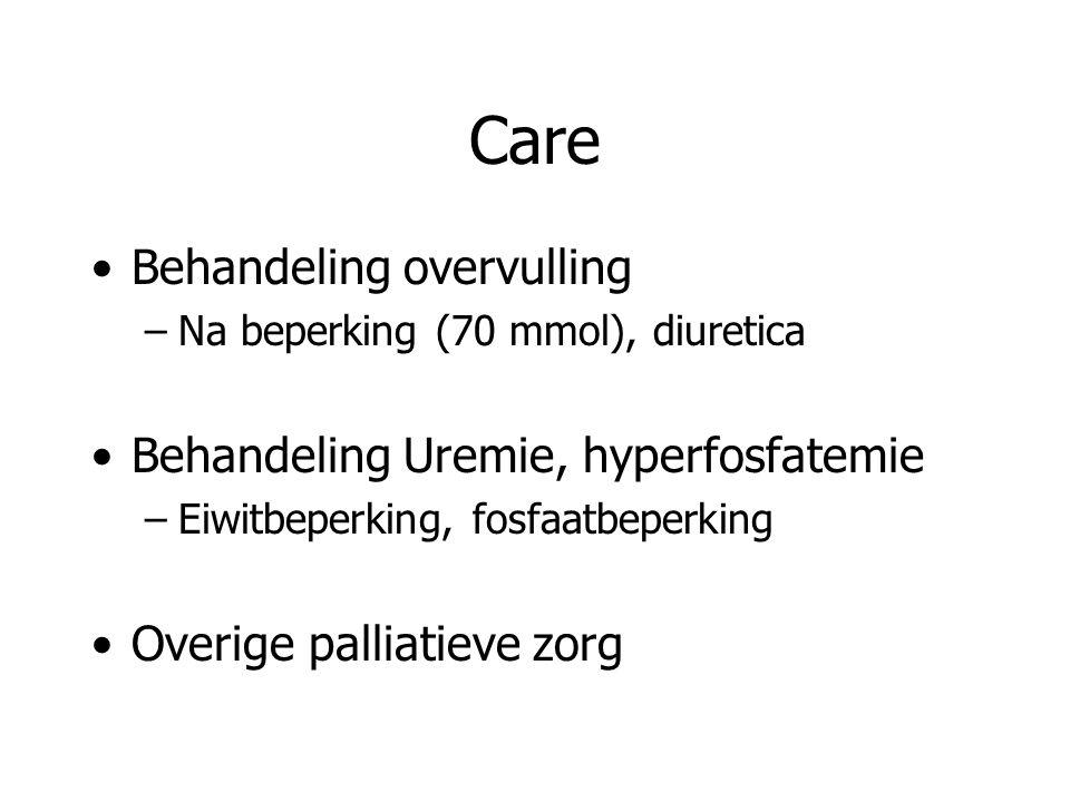 Care Behandeling overvulling –Na beperking (70 mmol), diuretica Behandeling Uremie, hyperfosfatemie –Eiwitbeperking, fosfaatbeperking Overige palliatieve zorg