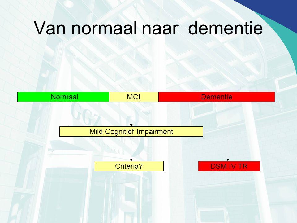 Van normaal naar dementie Normaal?DementieMCI Mild Cognitief Impairment Criteria?DSM IV TR
