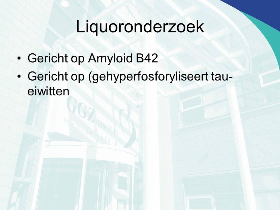 Liquoronderzoek Gericht op Amyloid B42 Gericht op (gehyperfosforyliseert tau- eiwitten