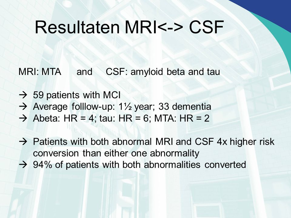 MRI: MTA and CSF: amyloid beta and tau  59 patients with MCI  Average folllow-up: 1½ year; 33 dementia  Abeta: HR = 4; tau: HR = 6; MTA: HR = 2  Patients with both abnormal MRI and CSF 4x higher risk conversion than either one abnormality  94% of patients with both abnormalities converted Resultaten MRI CSF