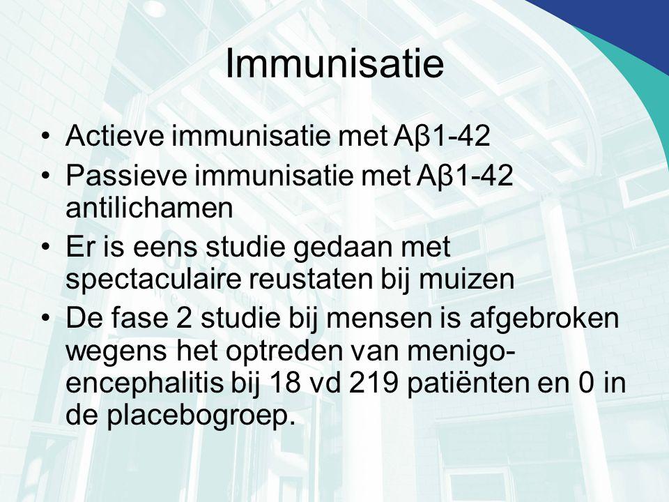Immunisatie Actieve immunisatie met Aβ1-42 Passieve immunisatie met Aβ1-42 antilichamen Er is eens studie gedaan met spectaculaire reustaten bij muize