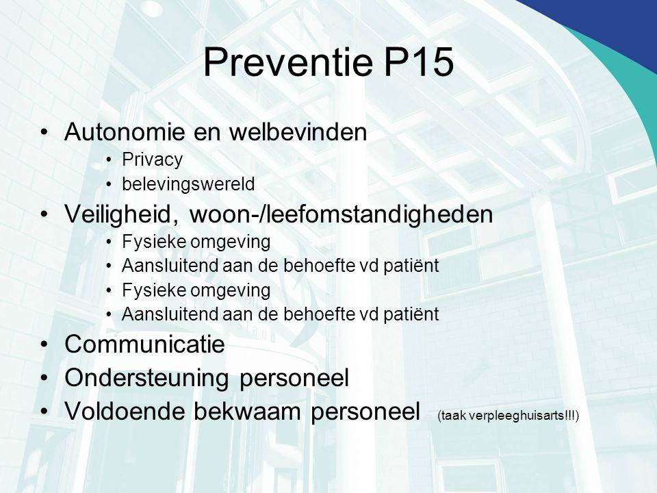 Preventie P15 Autonomie en welbevinden Privacy belevingswereld Veiligheid, woon-/leefomstandigheden Fysieke omgeving Aansluitend aan de behoefte vd pa