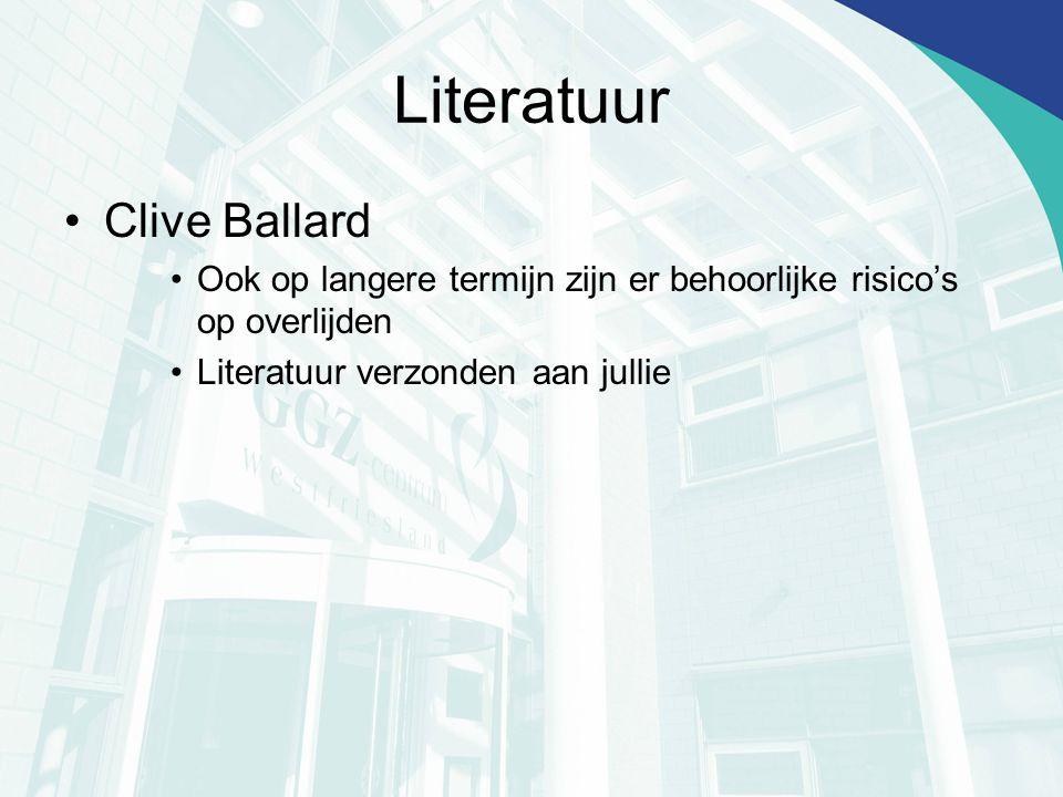 Literatuur Clive Ballard Ook op langere termijn zijn er behoorlijke risico's op overlijden Literatuur verzonden aan jullie