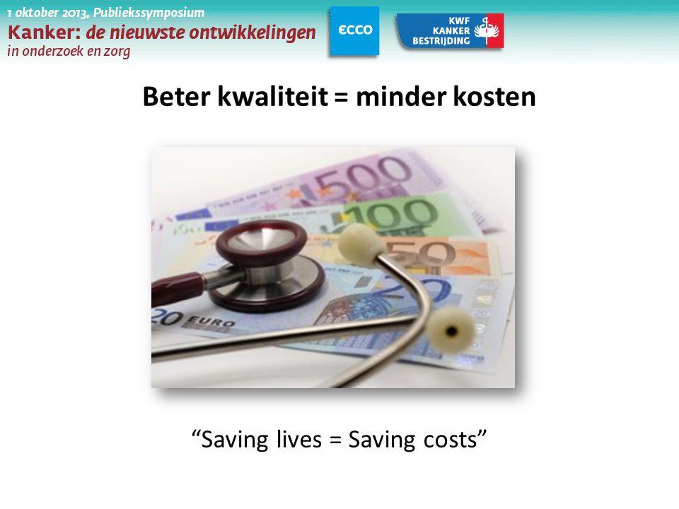 "Beter kwaliteit = minder kosten ""Saving lives = Saving costs"""