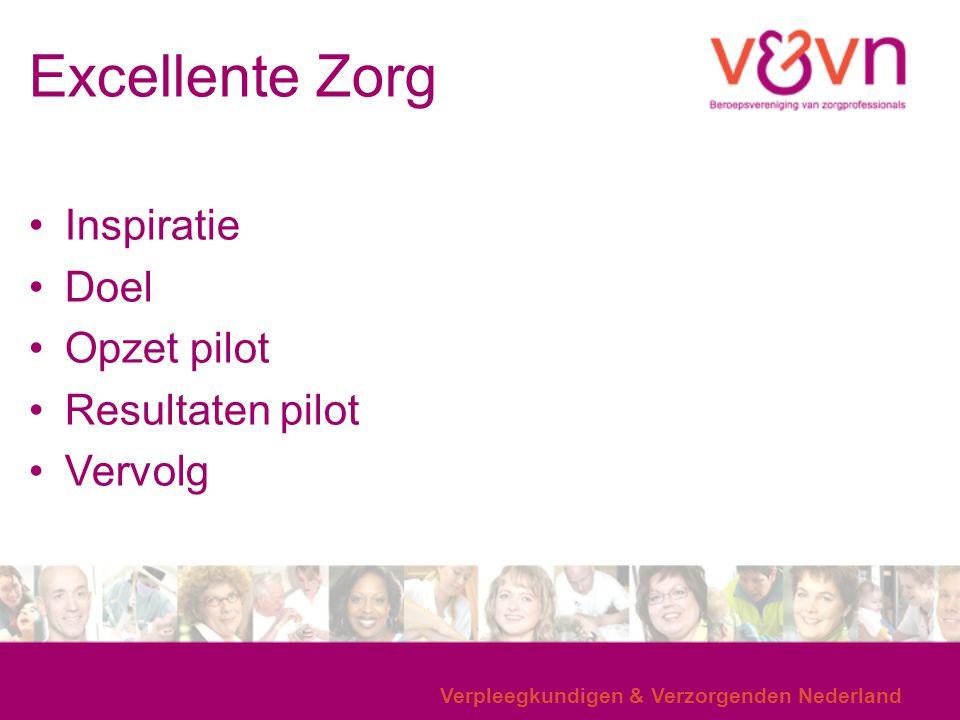 Verpleegkundigen & Verzorgenden Nederland Excellente Zorg Inspiratie Doel Opzet pilot Resultaten pilot Vervolg