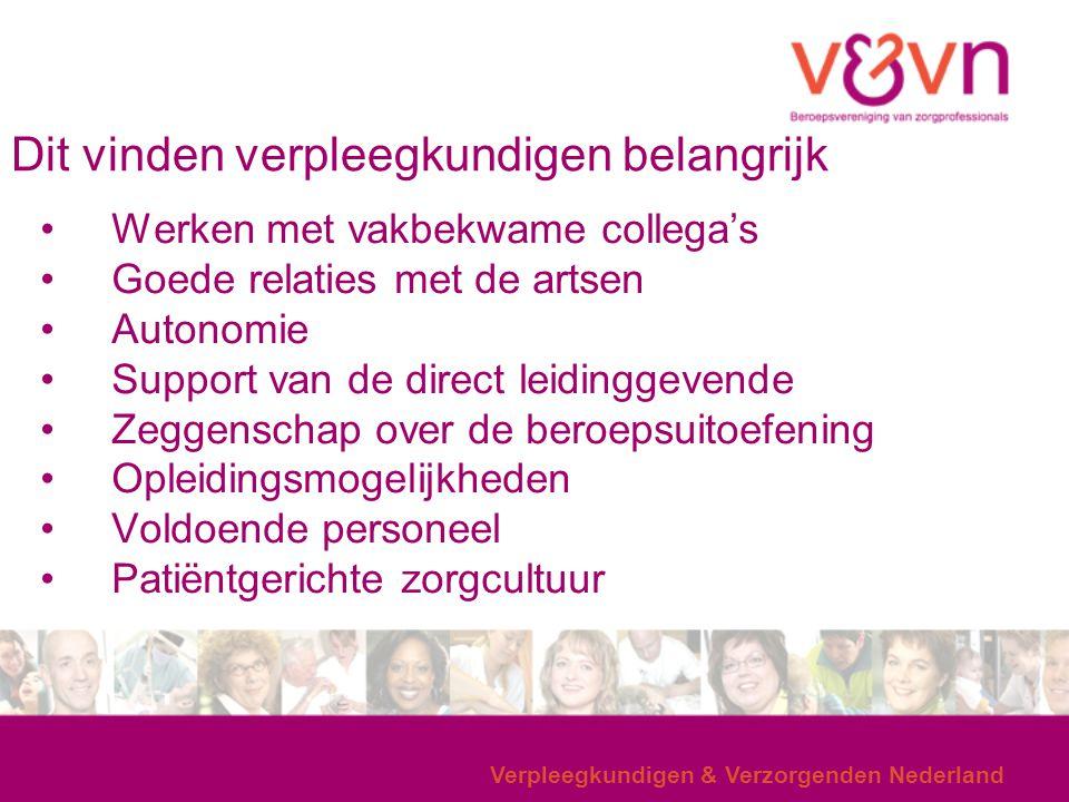 Verpleegkundigen & Verzorgenden Nederland Dit vinden verpleegkundigen belangrijk Werken met vakbekwame collega's Goede relaties met de artsen Autonomi