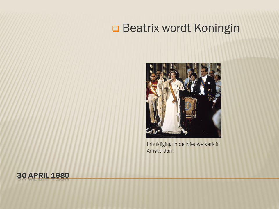 Inhuldiging in de Nieuwe kerk in Amsterdam  Beatrix wordt Koningin