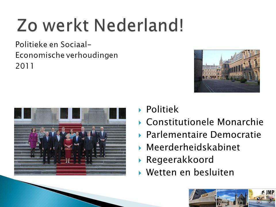  Politiek  Constitutionele Monarchie  Parlementaire Democratie  Meerderheidskabinet  Regeerakkoord  Wetten en besluiten Politieke en Sociaal- Economische verhoudingen 2011