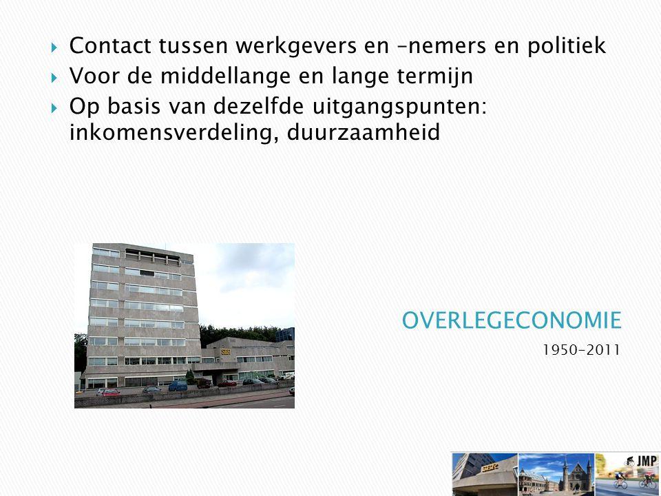 1950-2011  Contact tussen werkgevers en –nemers en politiek  Voor de middellange en lange termijn  Op basis van dezelfde uitgangspunten: inkomensverdeling, duurzaamheid
