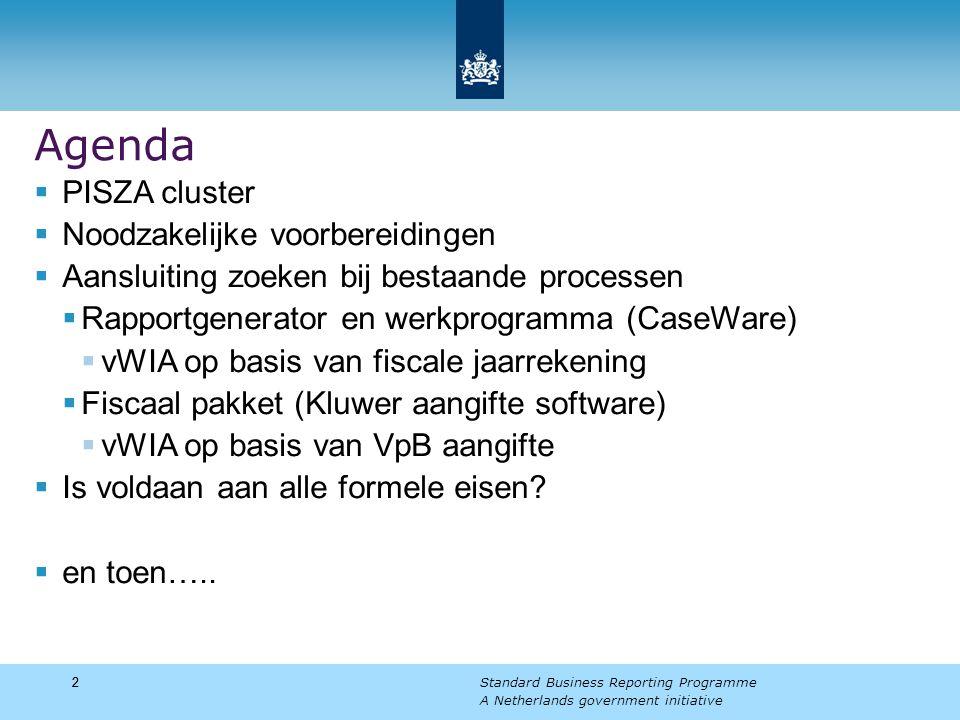 22 Standard Business Reporting Programme A Netherlands government initiative Agenda  PISZA cluster  Noodzakelijke voorbereidingen  Aansluiting zoeken bij bestaande processen  Rapportgenerator en werkprogramma (CaseWare)  vWIA op basis van fiscale jaarrekening  Fiscaal pakket (Kluwer aangifte software)  vWIA op basis van VpB aangifte  Is voldaan aan alle formele eisen.