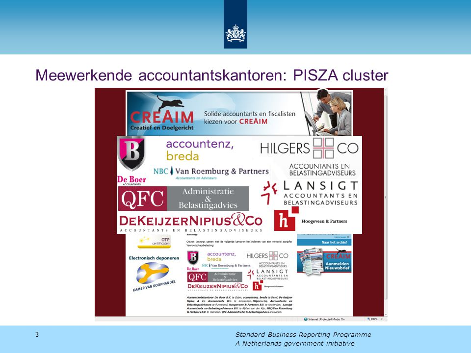 33 Standard Business Reporting Programme A Netherlands government initiative Meewerkende accountantskantoren: PISZA cluster