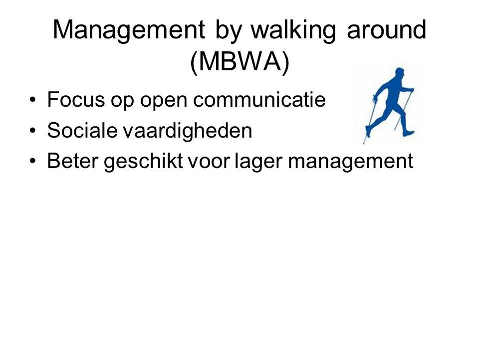 Management by walking around (MBWA) Focus op open communicatie Sociale vaardigheden Beter geschikt voor lager management