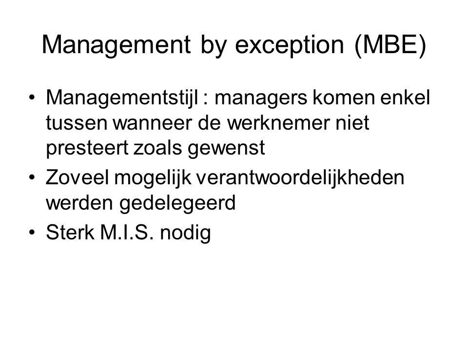 Management by exception (MBE) Managementstijl : managers komen enkel tussen wanneer de werknemer niet presteert zoals gewenst Zoveel mogelijk verantwo