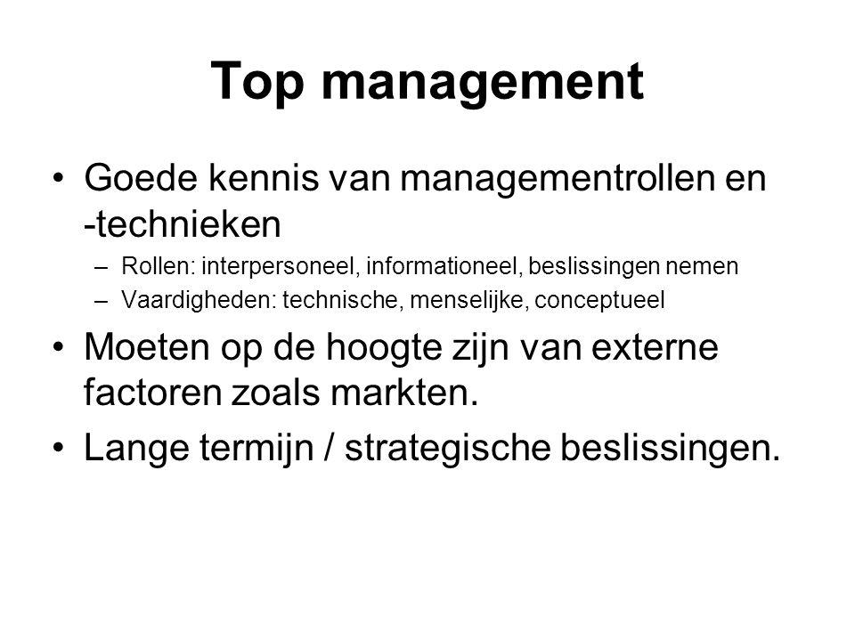 Top management Goede kennis van managementrollen en -technieken –Rollen: interpersoneel, informationeel, beslissingen nemen –Vaardigheden: technische,