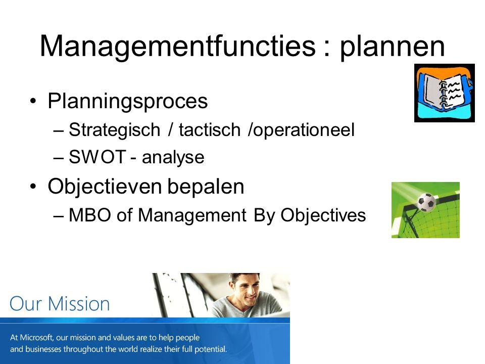 Managementfuncties : plannen Planningsproces –Strategisch / tactisch /operationeel –SWOT - analyse Objectieven bepalen –MBO of Management By Objective