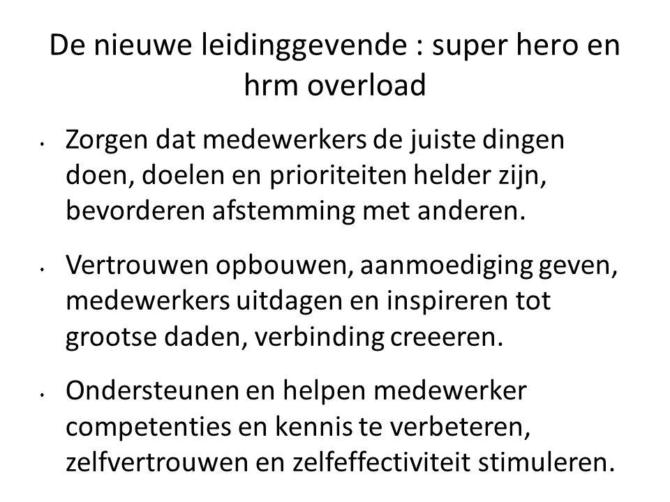De nieuwe leidinggevende : super hero en hrm overload Zorgen dat medewerkers de juiste dingen doen, doelen en prioriteiten helder zijn, bevorderen afstemming met anderen.