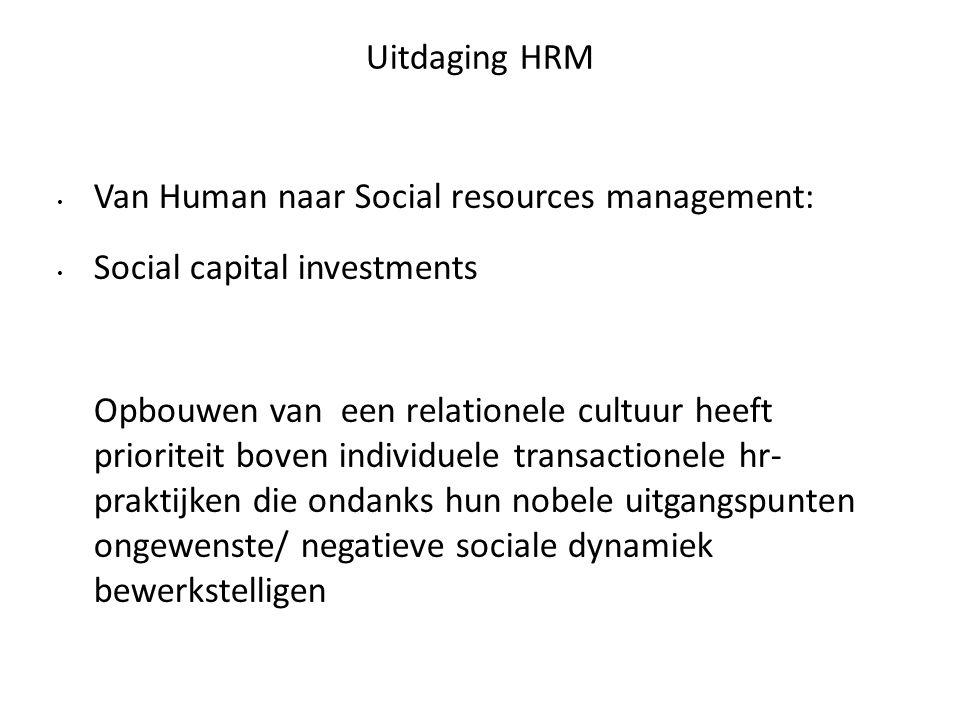 Uitdaging HRM Van Human naar Social resources management: Social capital investments Opbouwen van een relationele cultuur heeft prioriteit boven individuele transactionele hr- praktijken die ondanks hun nobele uitgangspunten ongewenste/ negatieve sociale dynamiek bewerkstelligen