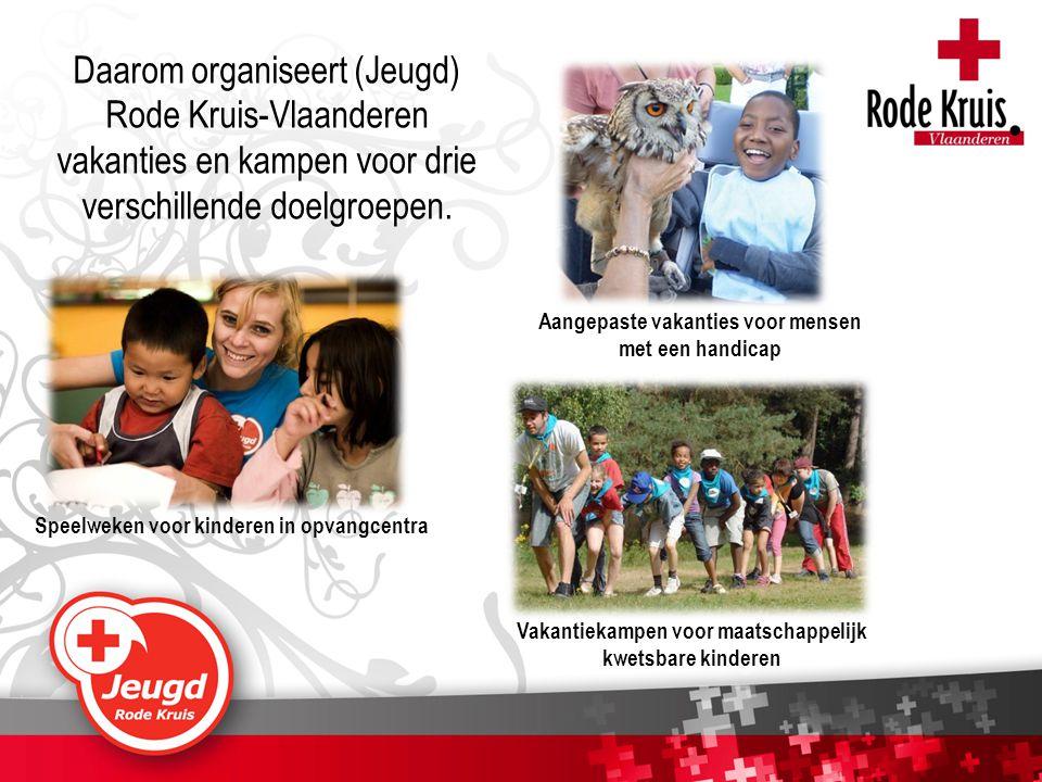 Daarom organiseert (Jeugd) Rode Kruis-Vlaanderen vakanties en kampen voor drie verschillende doelgroepen. Speelweken voor kinderen in opvangcentra Vak