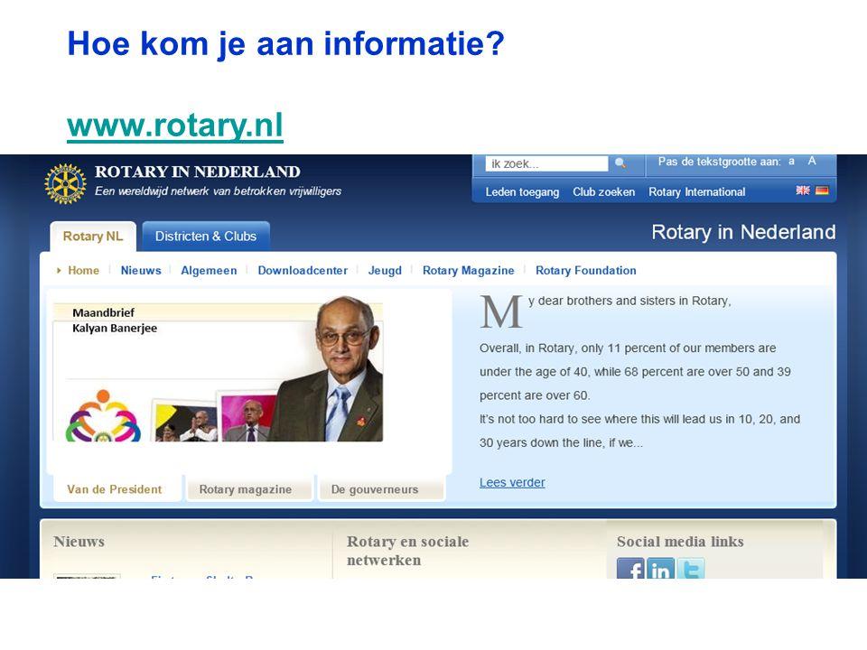 Hoe kom je aan informatie? www.rotary.nl