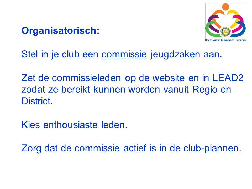 Organisatorisch: Stel in je club een commissie jeugdzaken aan. Zet de commissieleden op de website en in LEAD2 zodat ze bereikt kunnen worden vanuit R