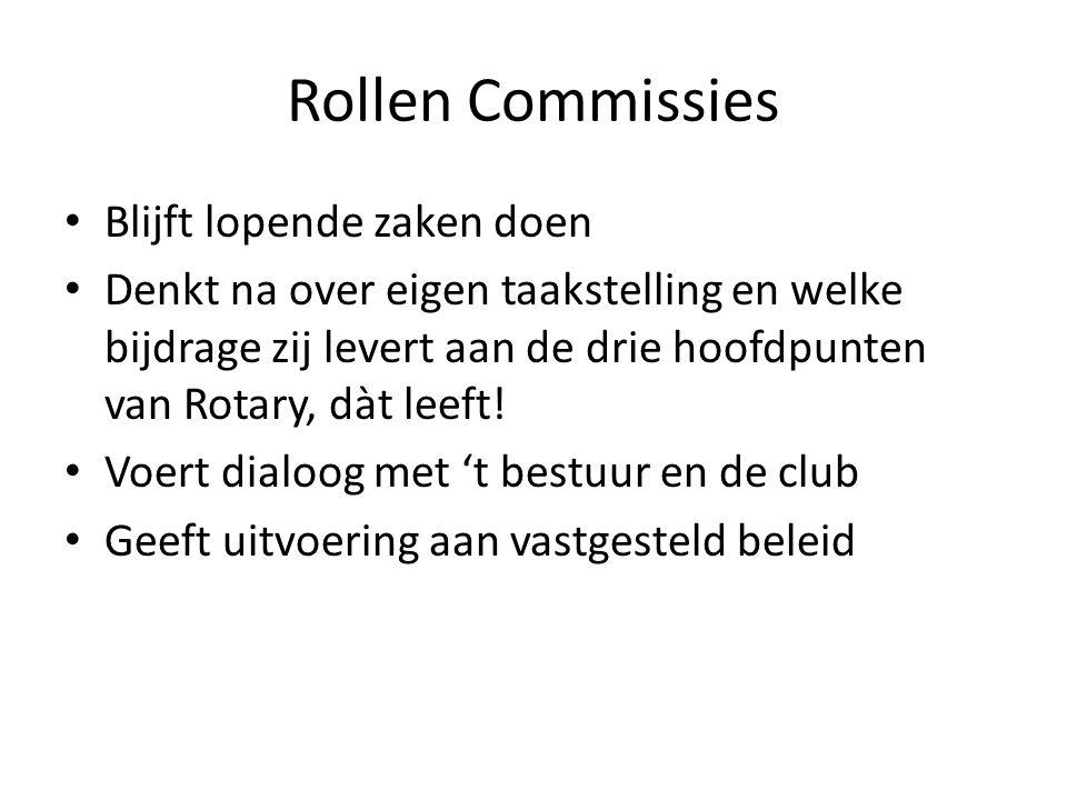 Rollen Commissies Blijft lopende zaken doen Denkt na over eigen taakstelling en welke bijdrage zij levert aan de drie hoofdpunten van Rotary, dàt leeft.