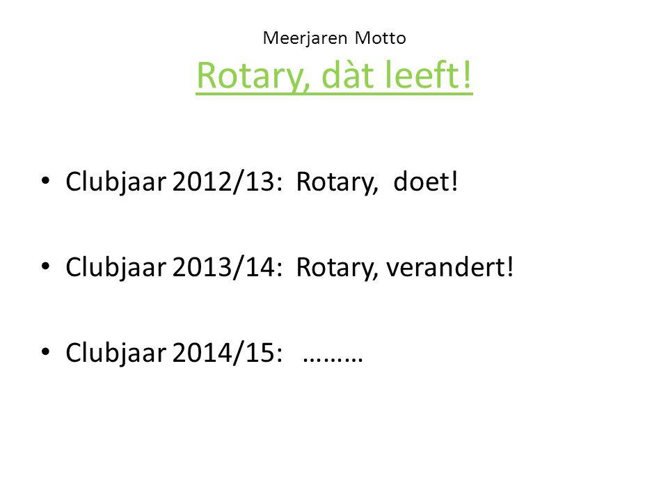 Meerjaren Motto Rotary, dàt leeft. Clubjaar 2012/13: Rotary, doet.