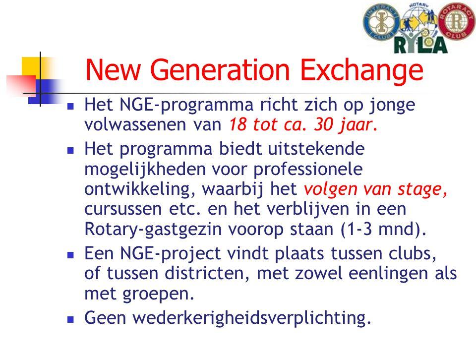 New Generation Exchange Het NGE-programma richt zich op jonge volwassenen van 18 tot ca.