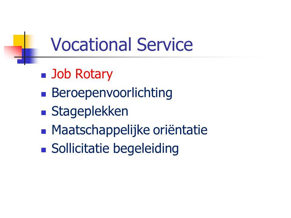 Vocational Service Job Rotary Beroepenvoorlichting Stageplekken Maatschappelijke oriëntatie Sollicitatie begeleiding