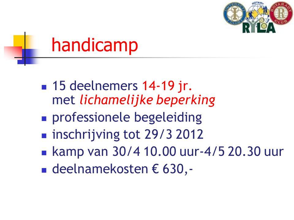 handicamp 15 deelnemers 14-19 jr.