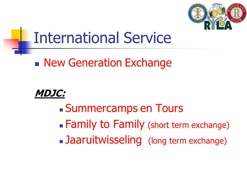International Service New Generation Exchange MDJC: Summercamps en Tours Family to Family (short term exchange) Jaaruitwisseling (long term exchange)