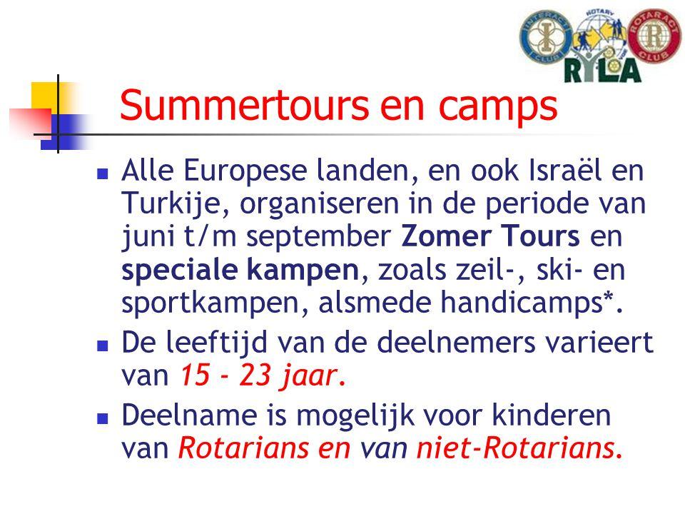Summertours en camps Alle Europese landen, en ook Israël en Turkije, organiseren in de periode van juni t/m september Zomer Tours en speciale kampen, zoals zeil-, ski- en sportkampen, alsmede handicamps*.