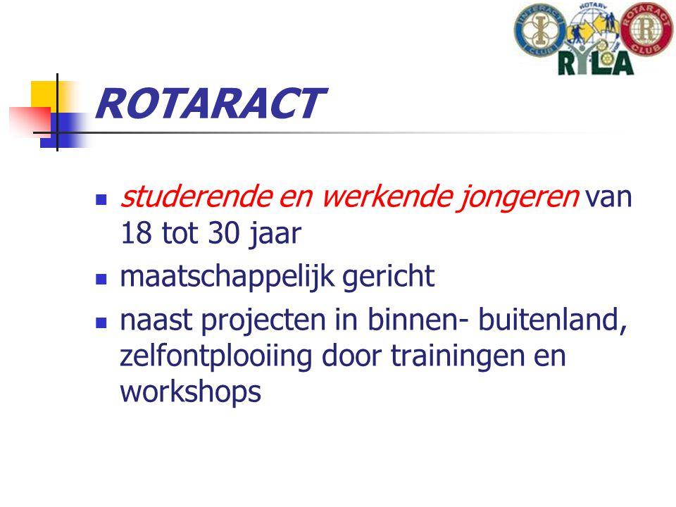 studerende en werkende jongeren van 18 tot 30 jaar maatschappelijk gericht naast projecten in binnen- buitenland, zelfontplooiing door trainingen en workshops ROTARACT