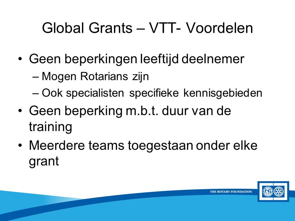 District Rotary Foundation Seminar Global Grants – VTT- Voordelen Geen beperkingen leeftijd deelnemer –Mogen Rotarians zijn –Ook specialisten specifieke kennisgebieden Geen beperking m.b.t.