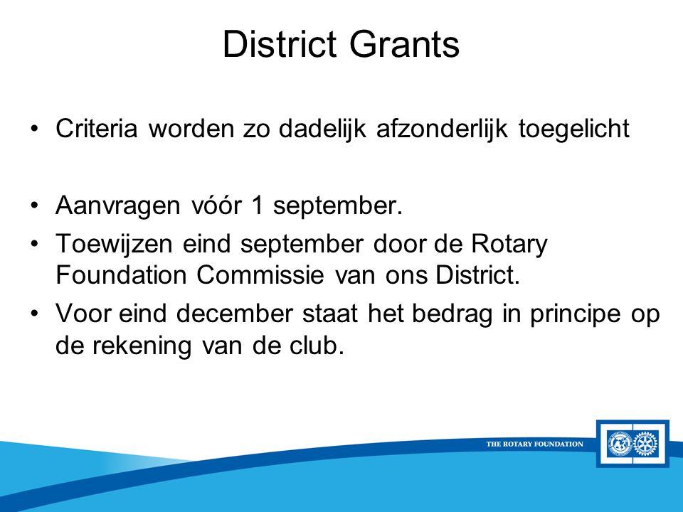 District Rotary Foundation Seminar District Grants Criteria worden zo dadelijk afzonderlijk toegelicht Aanvragen vóór 1 september.