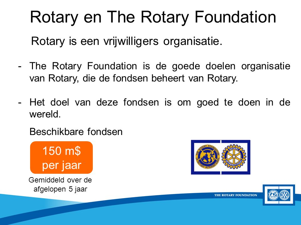 District Rotary Foundation Seminar Rotary en The Rotary Foundation Rotary is een vrijwilligers organisatie. -The Rotary Foundation is de goede doelen