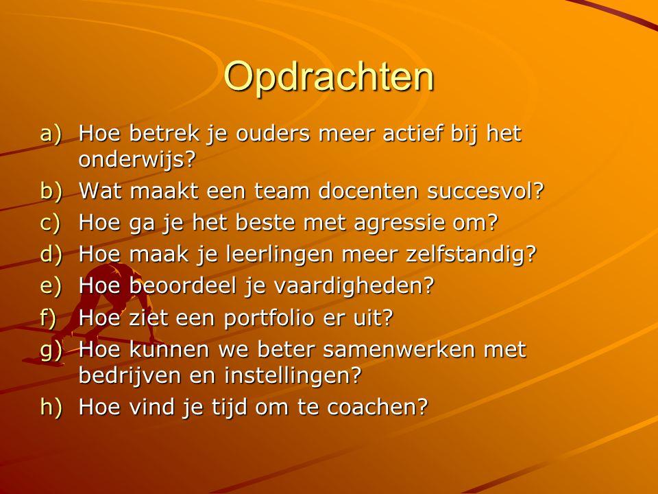Opdrachten a)Hoe betrek je ouders meer actief bij het onderwijs? b)Wat maakt een team docenten succesvol? c)Hoe ga je het beste met agressie om? d)Hoe