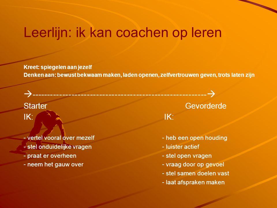 Leerlijn: ik kan coachen op leren Kreet: spiegelen aan jezelf Denken aan: bewust bekwaam maken, laden openen, zelfvertrouwen geven, trots laten zijn 
