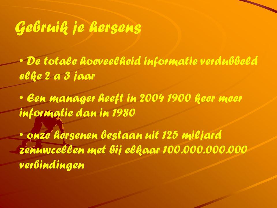 Gebruik je hersens De totale hoeveelheid informatie verdubbeld elke 2 a 3 jaar Een manager heeft in 2004 1900 keer meer informatie dan in 1980 onze he