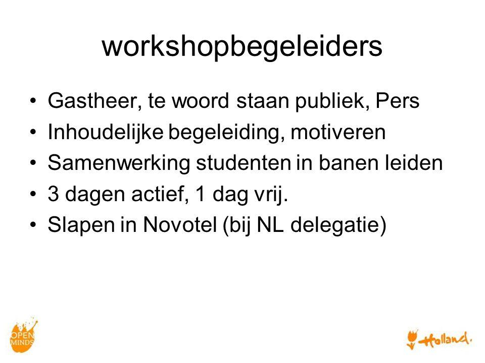 workshopbegeleiders Gastheer, te woord staan publiek, Pers Inhoudelijke begeleiding, motiveren Samenwerking studenten in banen leiden 3 dagen actief, 1 dag vrij.