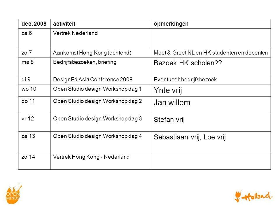 dec. 2008activiteitopmerkingen za 6Vertrek Nederland zo 7Aankomst Hong Kong (ochtend)Meet & Greet NL en HK studenten en docenten ma 8Bedrijfsbezoeken,