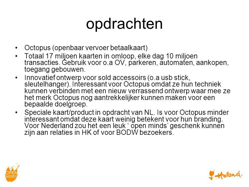 opdrachten Octopus (openbaar vervoer betaalkaart) Totaal 17 miljoen kaarten in omloop, elke dag 10 miljoen transacties.