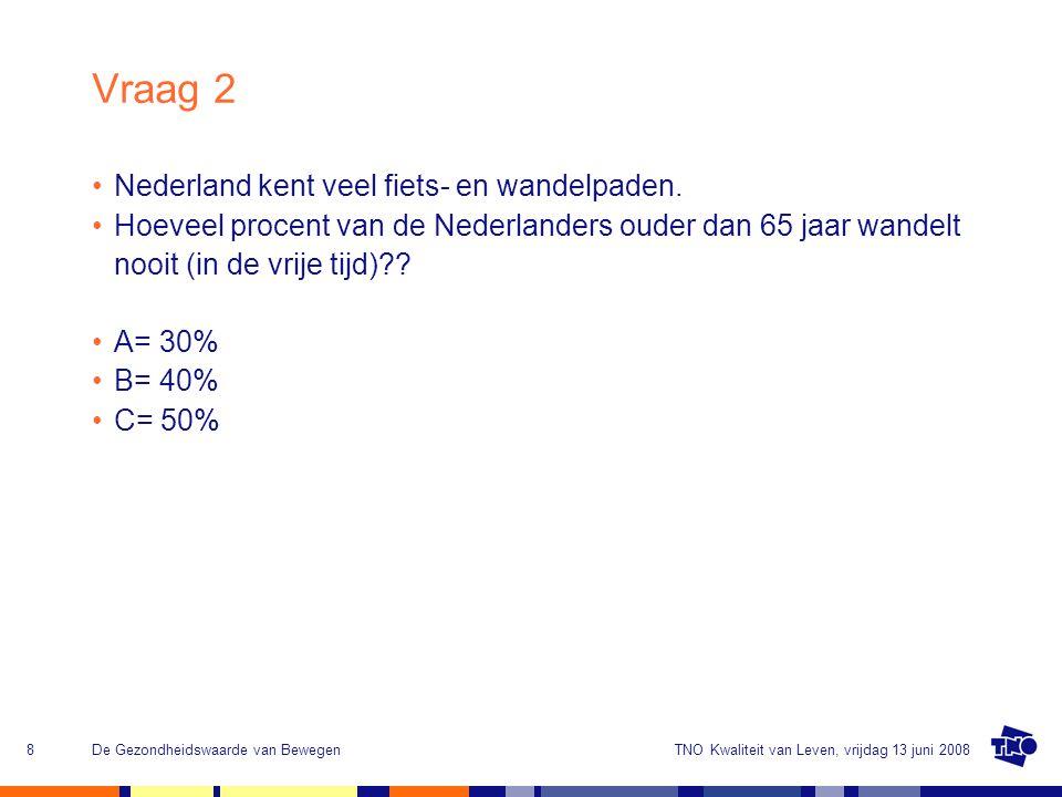TNO Kwaliteit van Leven, vrijdag 13 juni 2008De Gezondheidswaarde van Bewegen8 Vraag 2 Nederland kent veel fiets- en wandelpaden. Hoeveel procent van