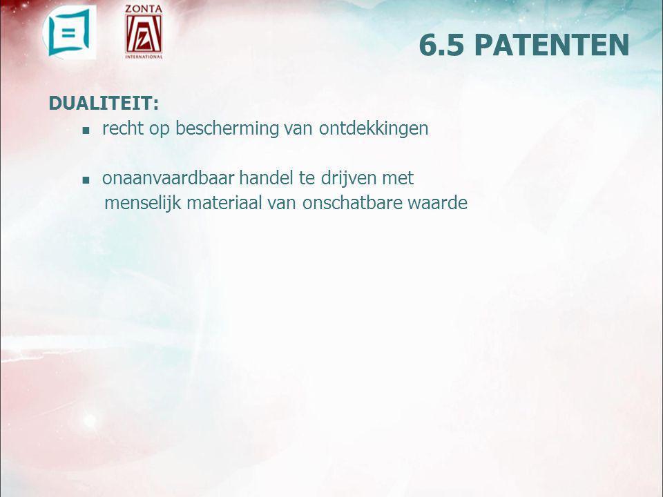 DUALITEIT: recht op bescherming van ontdekkingen onaanvaardbaar handel te drijven met menselijk materiaal van onschatbare waarde 6.5 PATENTEN